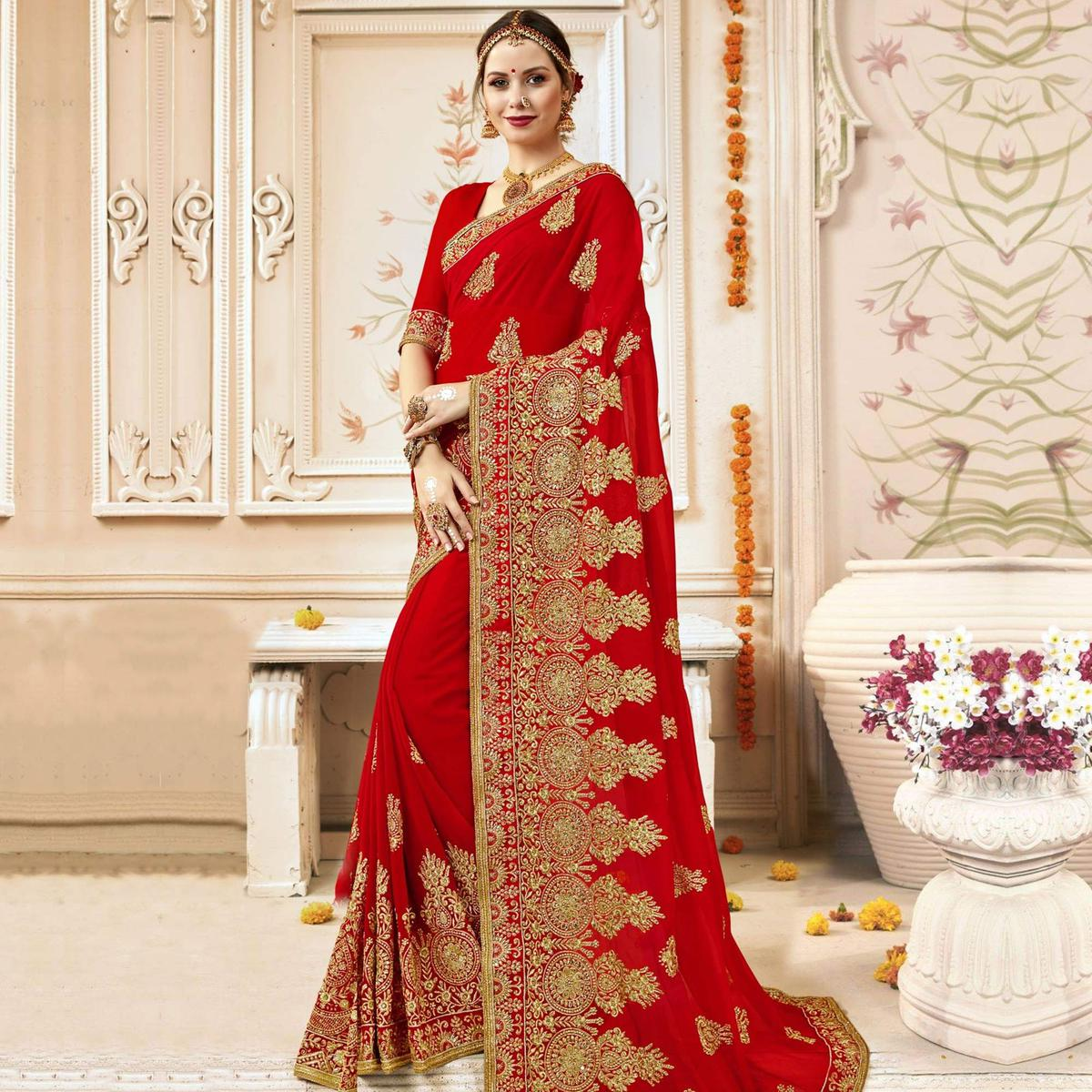 Glowing Red Colored Party Wear Embroidered Georgette Saree