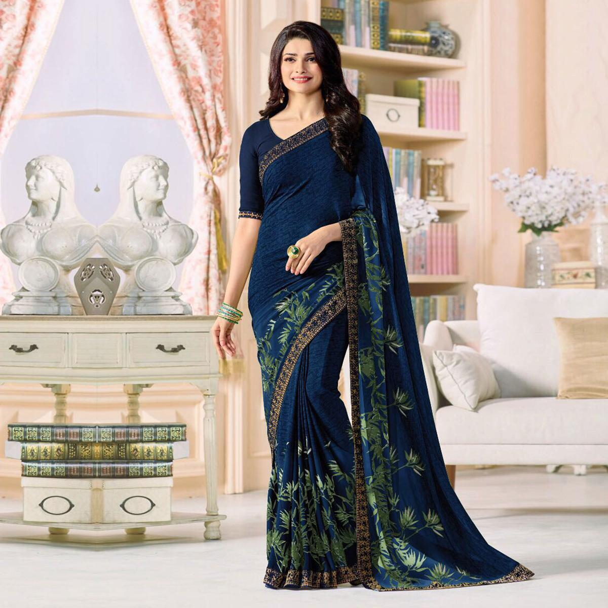 Graceful Navy Blue Designer Printed Georgette Saree