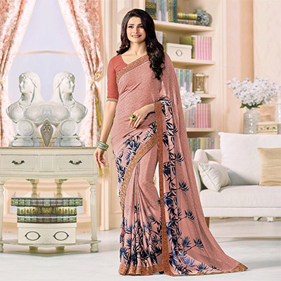 Charming Peach Designer Printed Georgette Saree