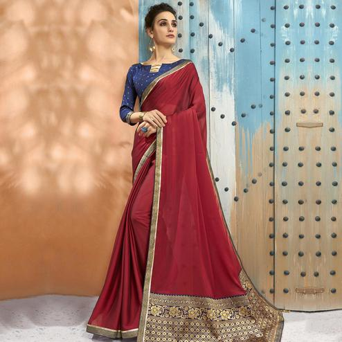 Glorious Red Colored Festive Wear Woven Georgette Saree