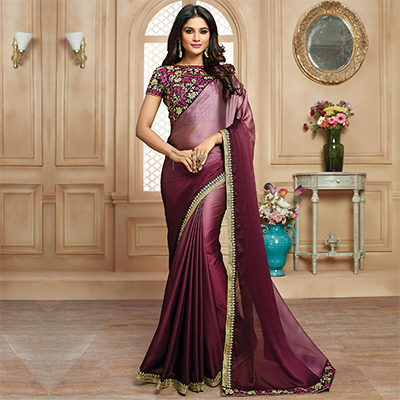 Gorgeous Wine Colored Designer Embroidered Two Tone Silk Fabrics Saree