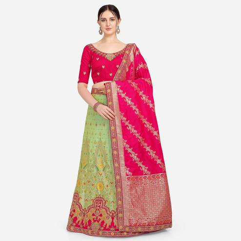Stylee Lifestyle - Red Colored Party Wear Embroidered Art Silk Lehenga Choli