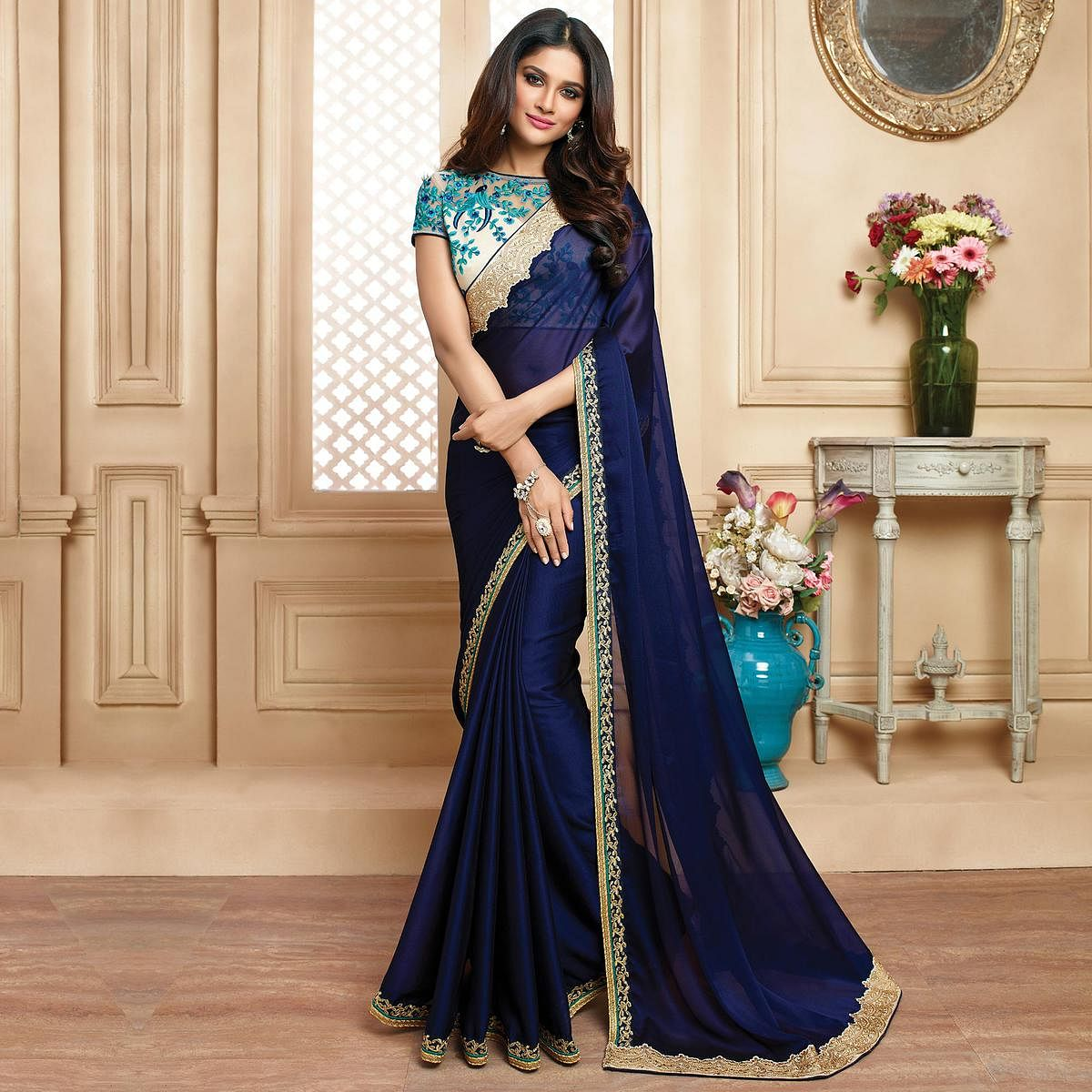 Flamboyant Navy Blue Colored Designer Embroidered Two Tone Silk And Chinon Saree