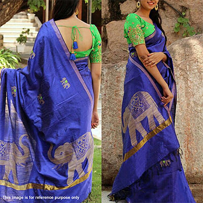 Lavishing Royal Blue Designer Partywear Printed Zarana Silk Saree With Embroidered Blouse