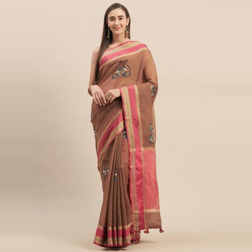 Stylee Lifestyle - Brown Colored Festive Wear Printed Art Silk Saree With Tassels