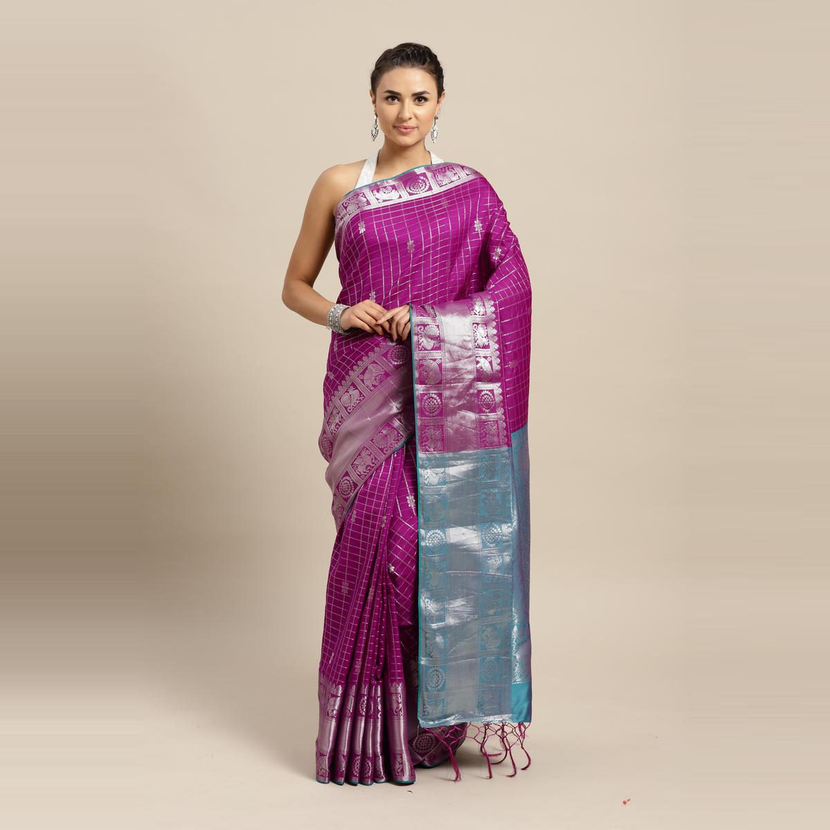 Stylee Lifestyle - Violet Colored Festive Wear Woven Banarasi Silk Saree With Tassels