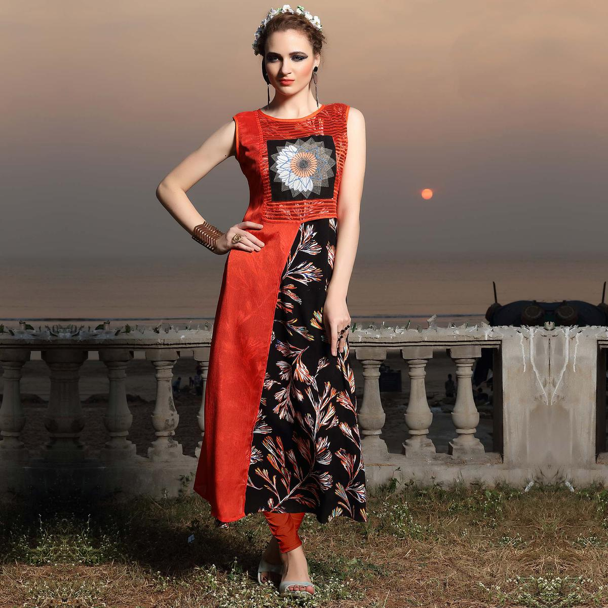 Beautiful Black-Orange Designer Printed Chiffon And Net Kurti