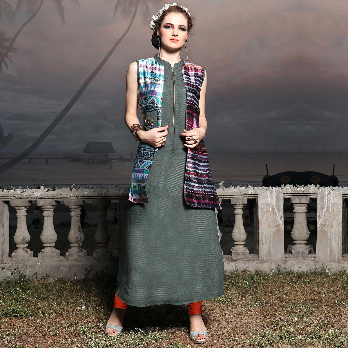 Elegant Gray Designer Digital Printed Rayon And Silk Kurti