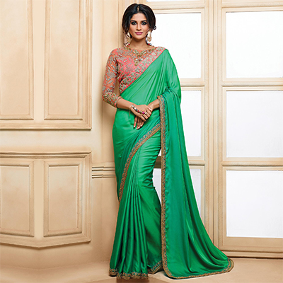 Stunning Green Designer Embroidered Moss Chiffon Saree