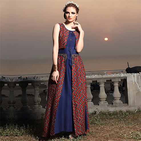 Ravishing Blue Designer Embroidered And Printed Rayon Kurti