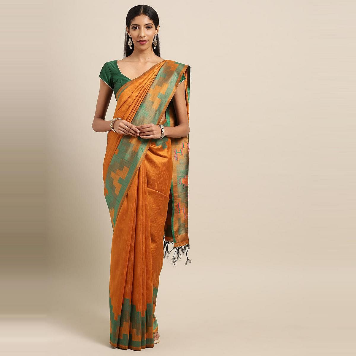 Stylee Lifestyle - Orange Colored Festive Wear Woven Silk Saree With Tassels