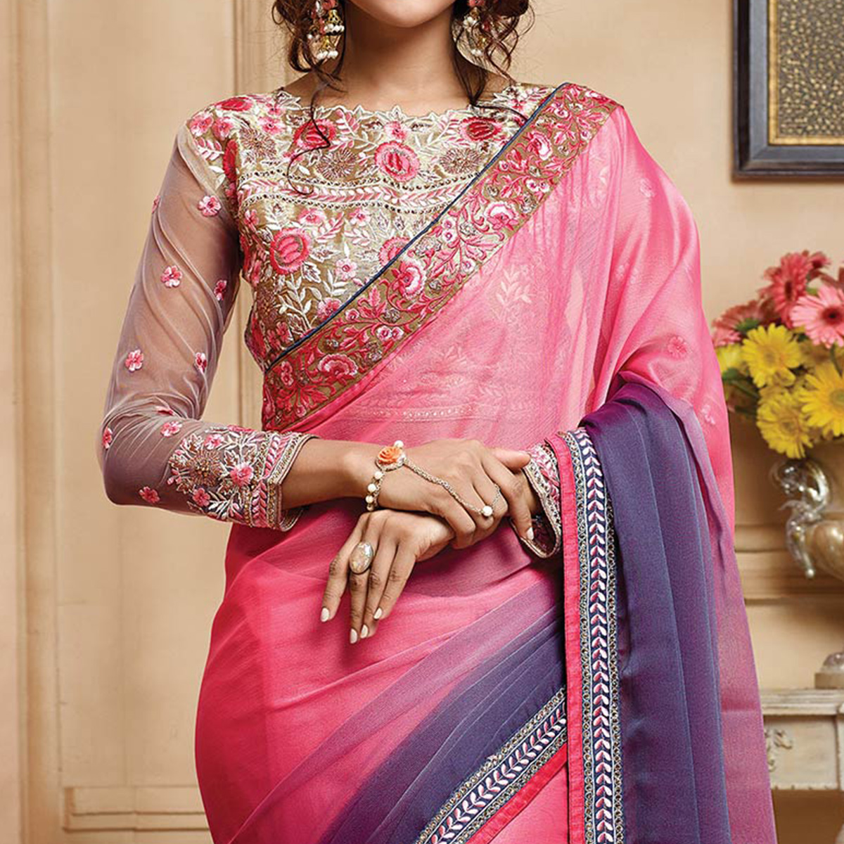 Beautiful Pink-Purple Colored Designer Embroidered Chiffon Saree