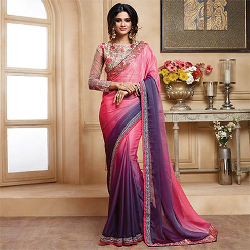 Beautiful Pink-Purple Colored Designer Embroidered Lycra Saree