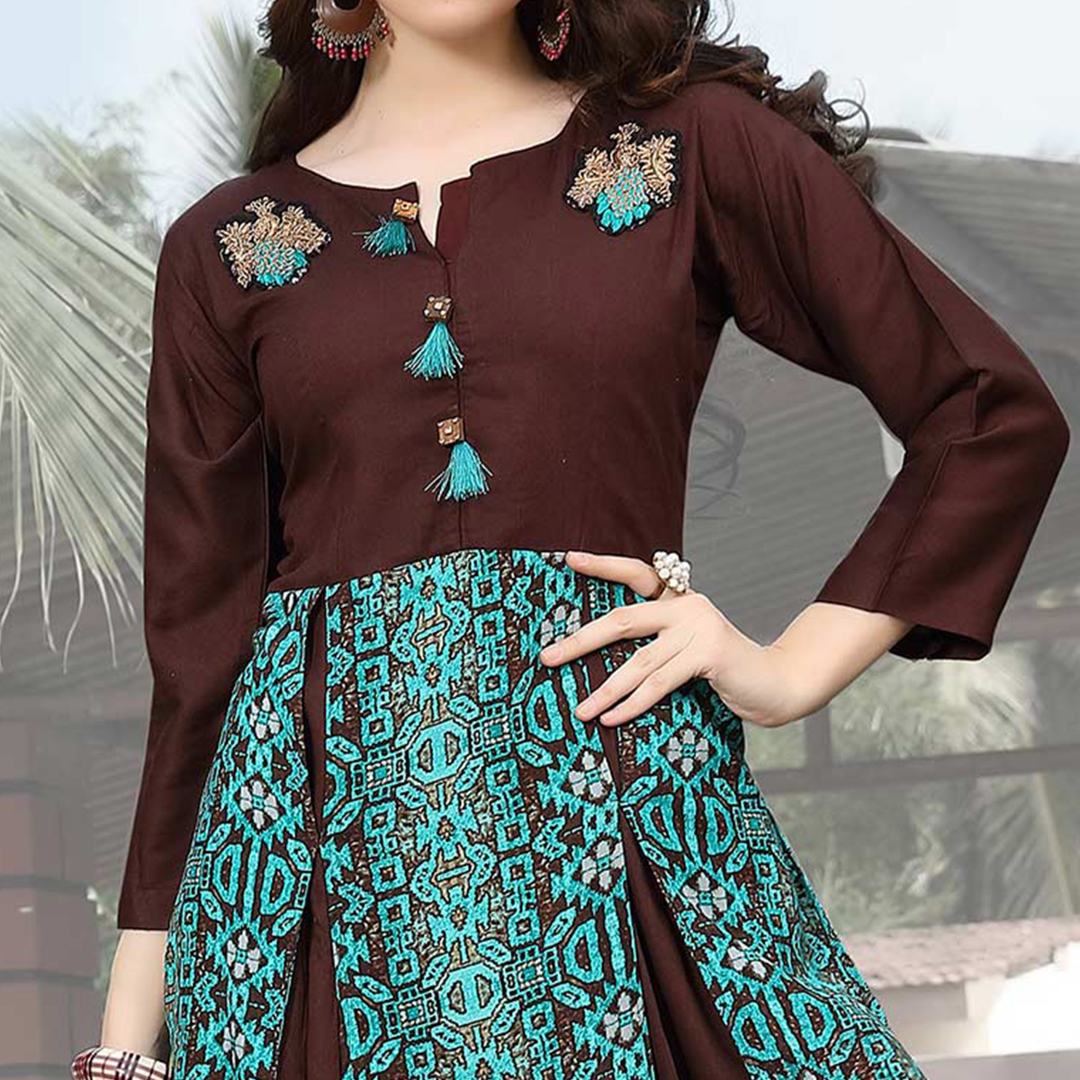 Stylish Brown Designer Hand Embroidered Rayon Kurti