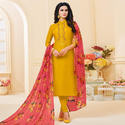 Adorable Yellow Colored Partywear Embroidered Chanderi Dress Material