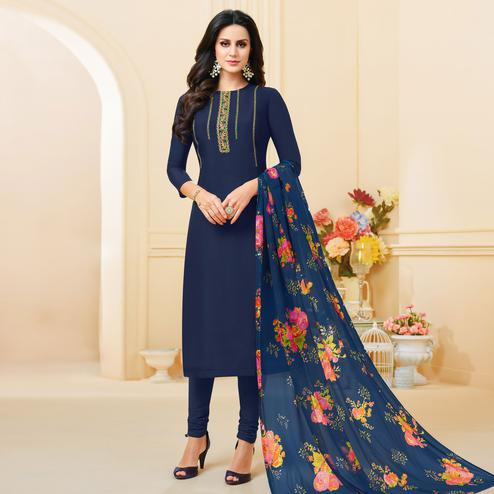 Glorious Navy Blue Colored Partywear Embroidered Chanderi Dress Material