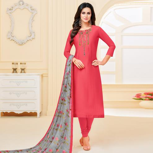 Beautiful Dark Peach Colored Partywear Embroidered Chanderi Dress Material