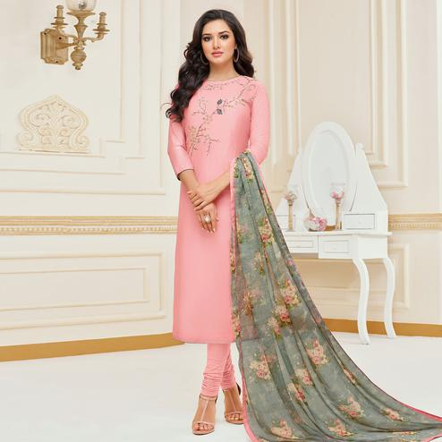 Graceful Light Pink Colored Partywear Embroidered Chanderi Dress Material