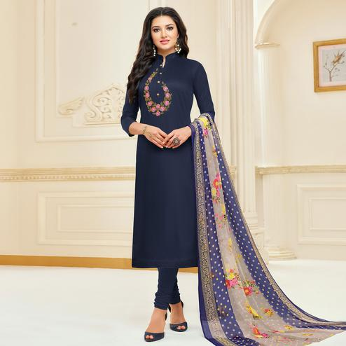 Blooming Navy Blue Colored Partywear Embroidered Chanderi Dress Material