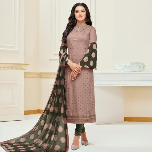 Charming Light Brown Colored Partywear Embroidered Chanderi Dress Material