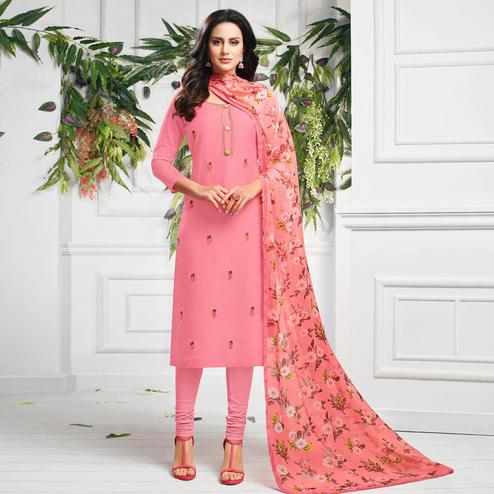 Jazzy Pink Colored Partywear Embroidered Chanderi Dress Material