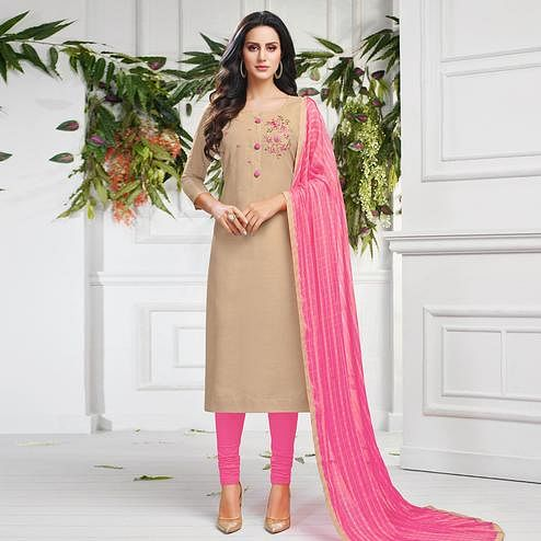 Delightful Beige Colored Partywear Embroidered Chanderi Dress Material