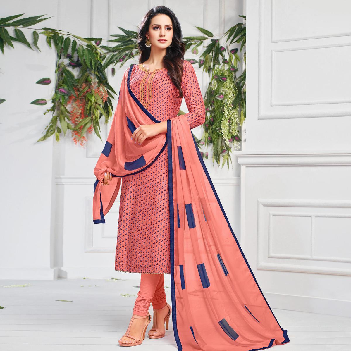 Engrossing Peach Colored Partywear Embroidered Chanderi Dress Material