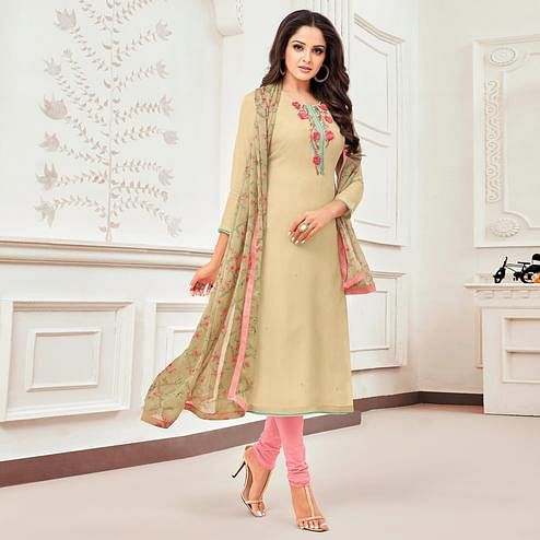 Captivating Beige Colored Partywear Embroidered Chanderi Dress Material