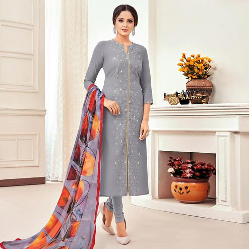 Innovative Grey Colored Partywear Embroidered Chanderi Dress Material