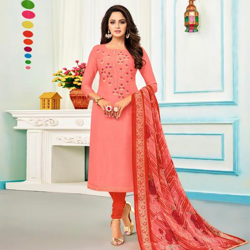 Eye-catching Pink Colored Partywear Embroidered Chanderi Dress Material
