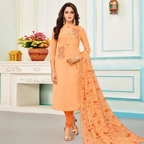 Fantastic Light Orange Colored Partywear Embroidered Chanderi Dress Material