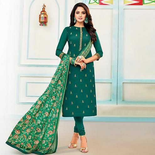 Amazing Rama Green Colored Partywear Embroidered Chanderi Dress Material
