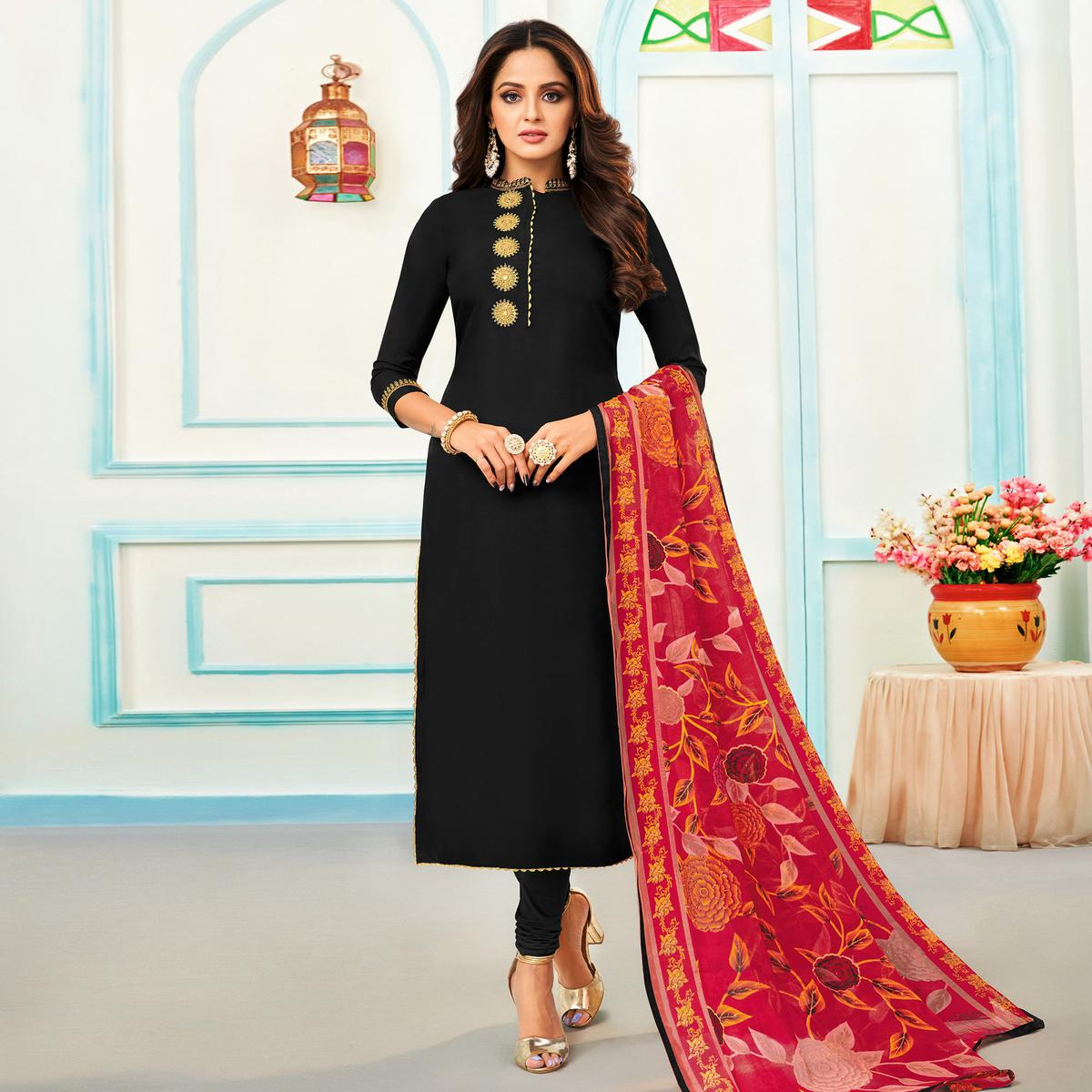 Gorgeous Black Colored Partywear Embroidered Chanderi Dress Material
