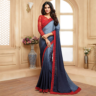 Charming Shaded Grey Colored Designer Embroidered Georgette And Fancy Lycra Saree
