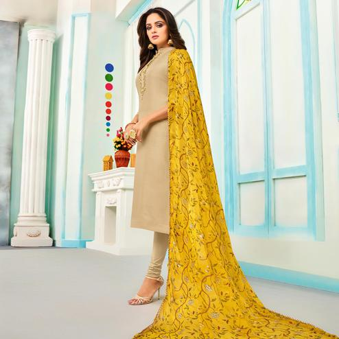 Blissful Beige Colored Partywear Embroidered Chanderi Dress Material