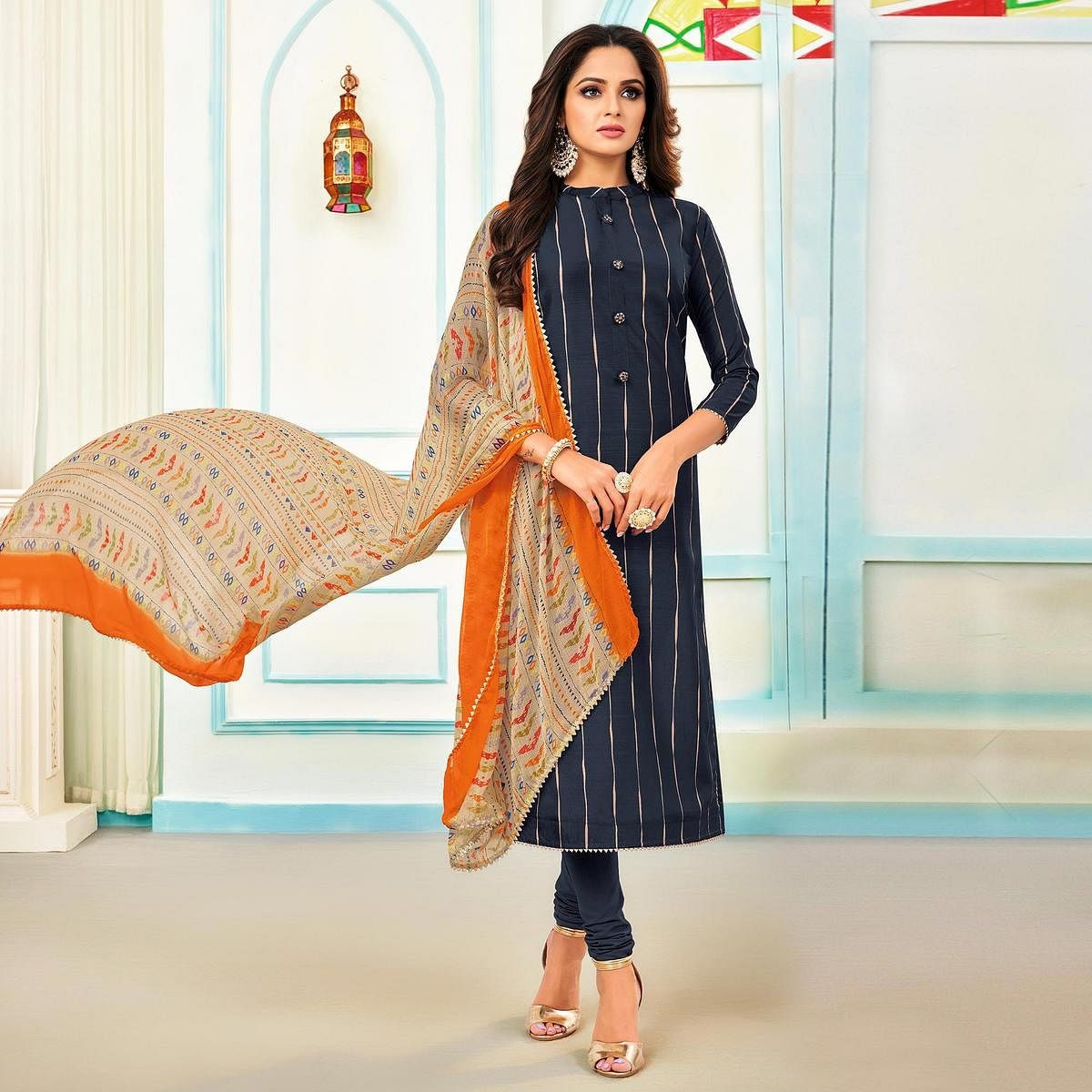 Ideal Navy Blue Colored Partywear Embroidered Chanderi Dress Material
