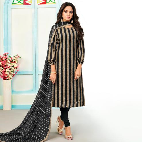 Imposing Beige - Black Colored Partywear Embroidered Chanderi Dress Material