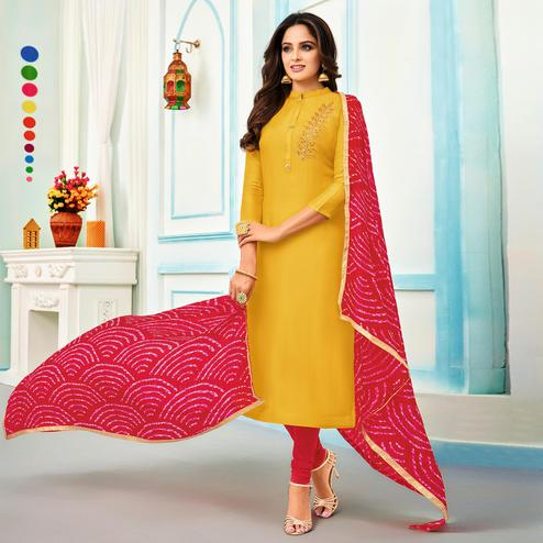 Lovely Yellow Colored Partywear Embroidered Chanderi Dress Material