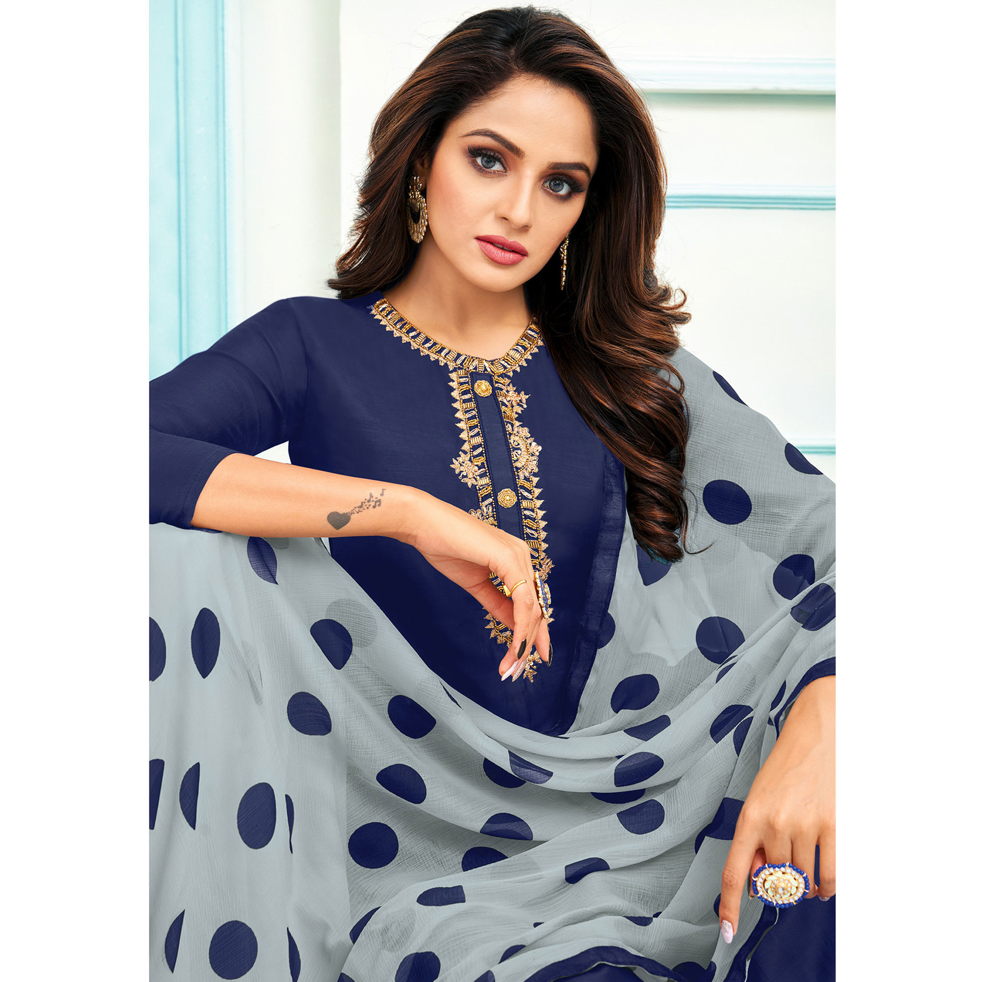 Majesty Blue Colored Partywear Embroidered Chanderi Dress Material