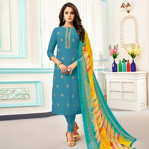 Impressive Sky Blue Colored Partywear Embroidered Chanderi Dress Material