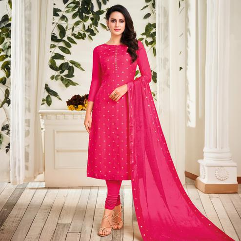 Mesmerising Dark Pink Colored Partywear Embroidered Chanderi Dress Material