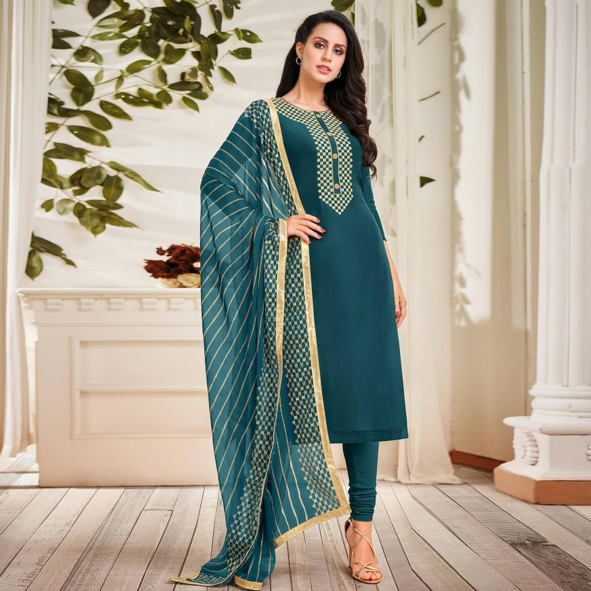 Pleasance Teal Blue Colored Partywear Embroidered Chanderi Dress Material
