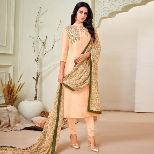 Ethnic Beige Colored Partywear Embroidered Chanderi Dress Material