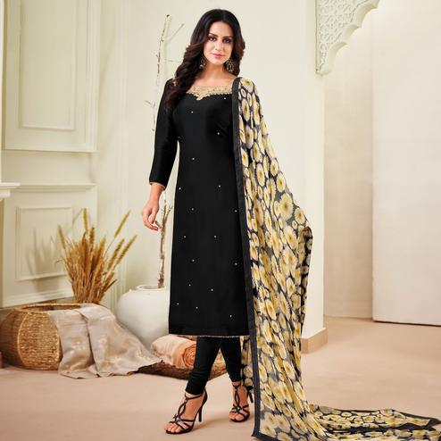 Ravishing Black Colored Partywear Embroidered Chanderi Dress Material
