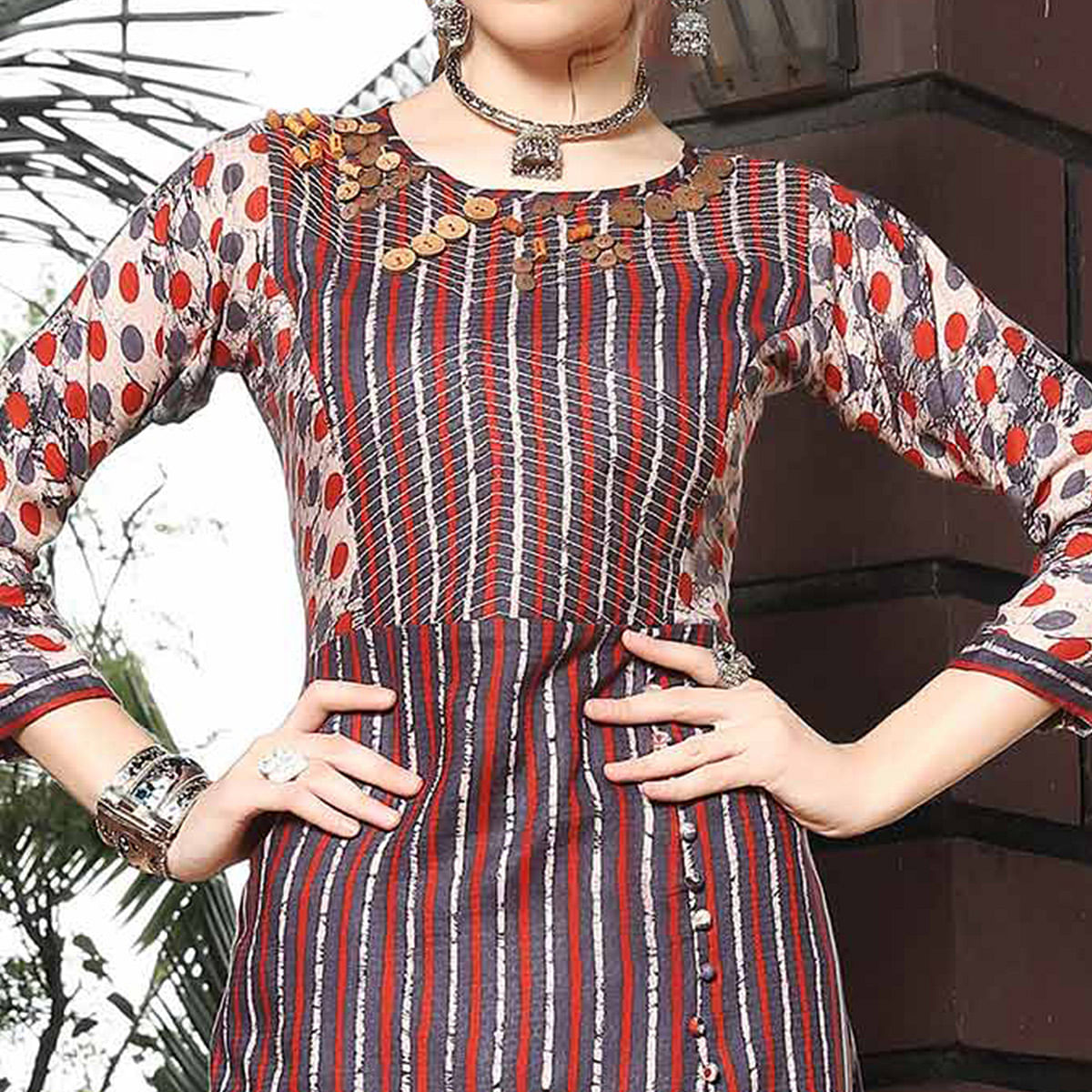 Multi Colored Designer Hand Embroidered Rayon Kurti