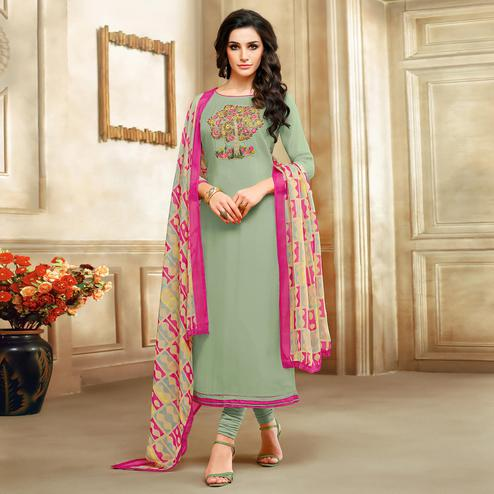 Intricate Aqua Green Colored Partywear Embroidered Chanderi Dress Material