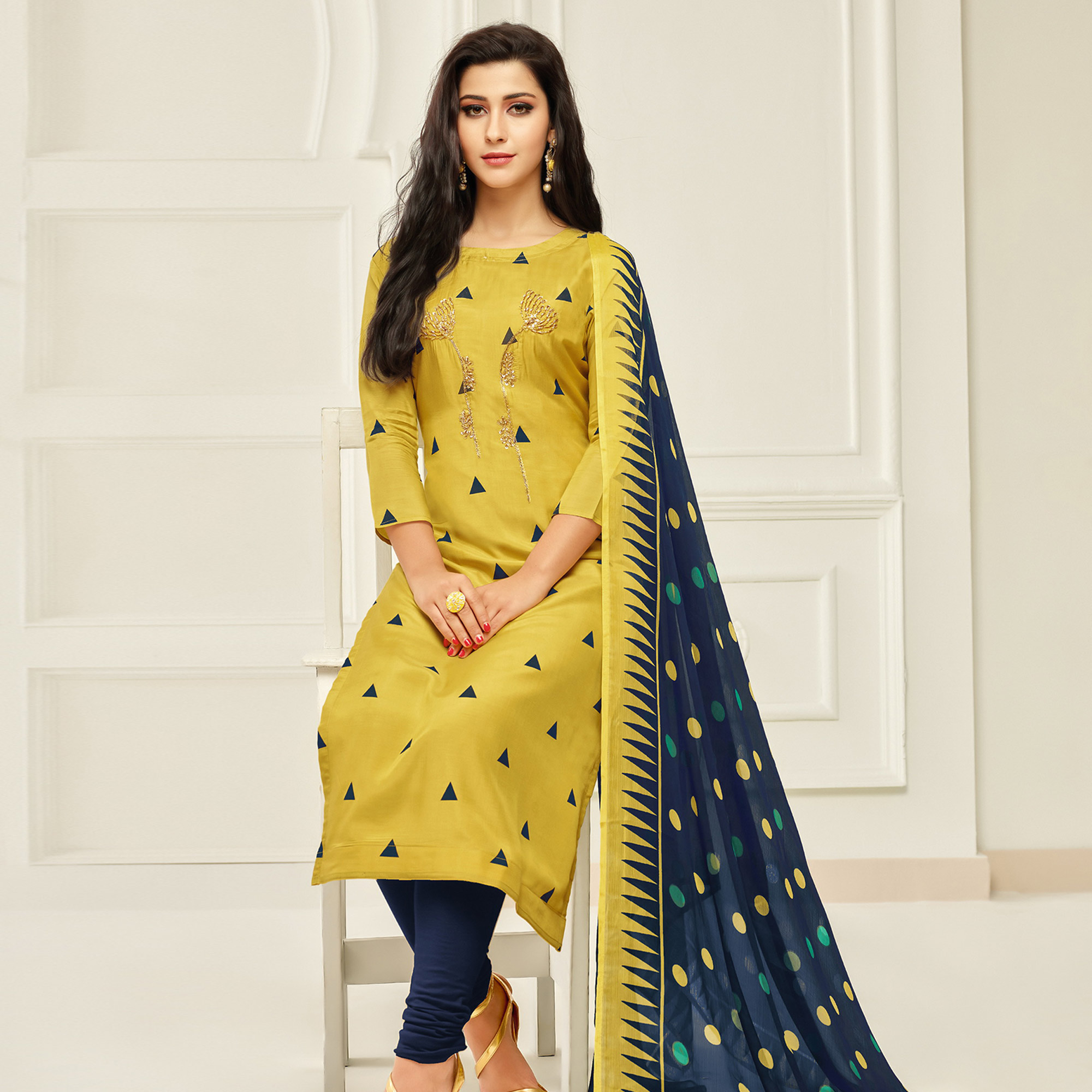 Arresting Yellow Colored Partywear Embroidered Chanderi Dress Material