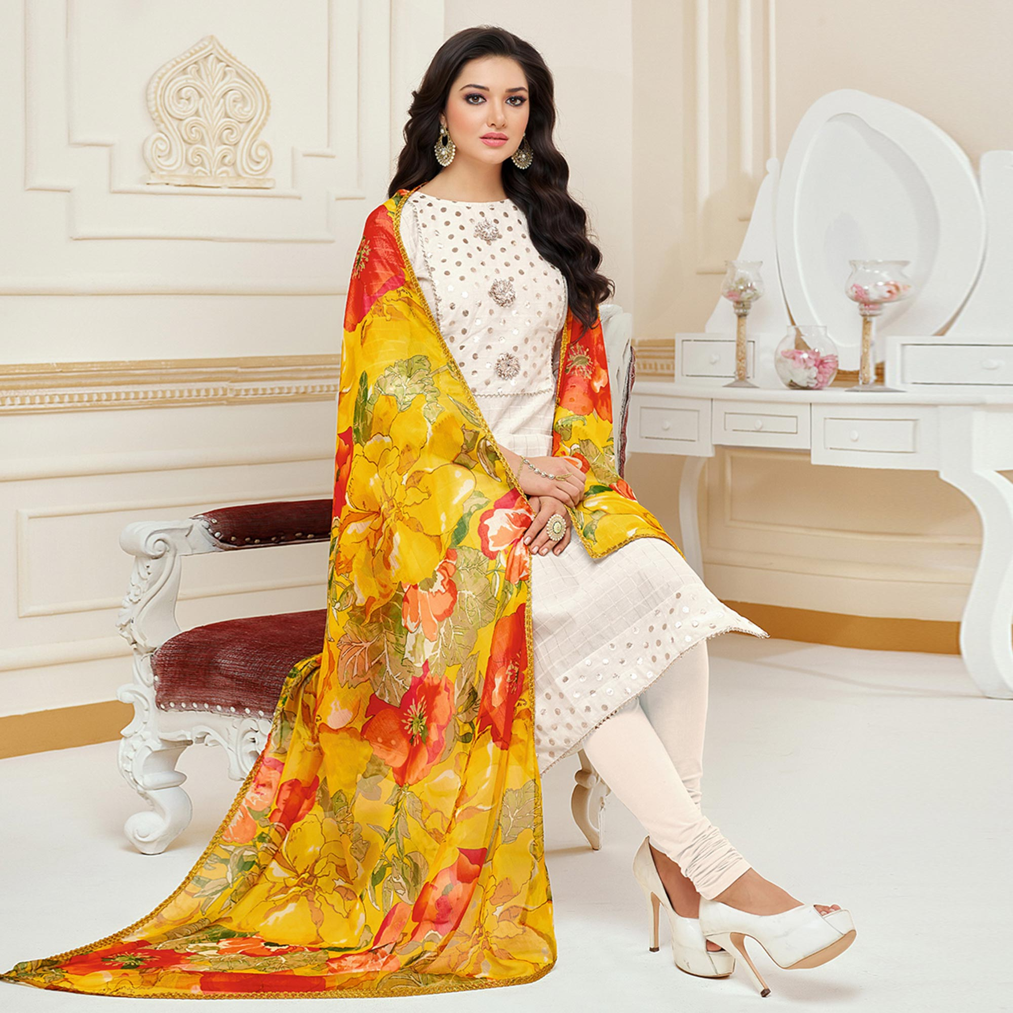 Exotic White Colored Partywear Embroidered Chanderi Dress Material