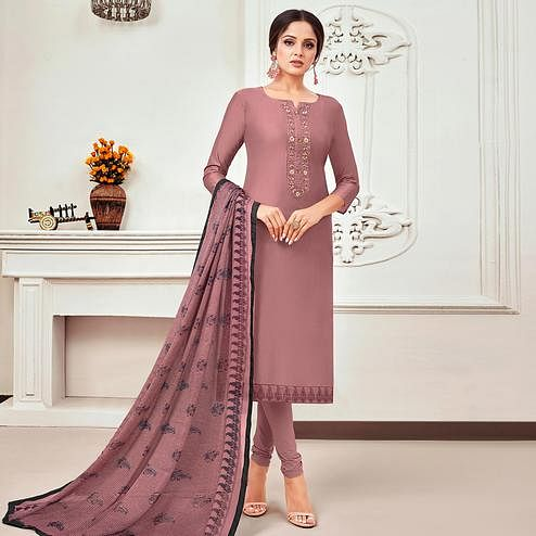 Trendy Mauve Colored Partywear Embroidered Chanderi Dress Material