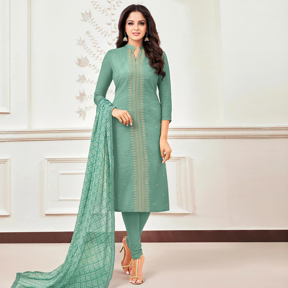 Elegant Turquoise Green Colored Partywear Embroidered Chanderi Dress Material